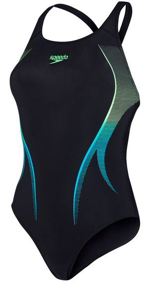speedo Endurance10 Activeturn Placement Powerback Swimsuit Women black/fluo green/aquarium